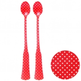 Red and White Polka Dot Translucent Acrylic Long Float Spoons Set of 2