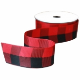 Red and Black Woven Jumbo Check Ribbon 5 Yards