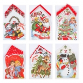 Fabric Hankie Merry Christmas Set 6 Gift Cards