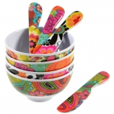 Floral Mini Bowls and Spreaders by French Bull Set of 4