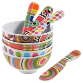 Multi Mini Bowls and Spreaders by French Bull Set of 4