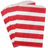 Red and White Stripes Paper Treat Bag Set of 24