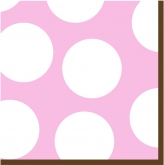Baby Pink and White Large Polka Dot Luncheon Paper Napkins