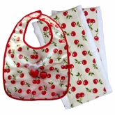 Cherry Retro Bib With 2 Burpies
