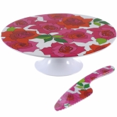 Rose Cakestand and Knife Set