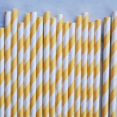 Yellow and White Barber Striped Paper Straws Set of 23