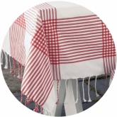 Picnic Red and White Woven Plaid Tablecloth