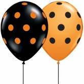 Orange and Black Polka Dots 16in Latex Balloon