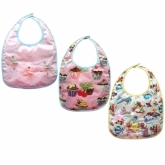 Wipe Clean Retro Girl Set of 3 Vinyl Bibs