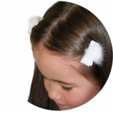 Mini White Fur Ball Set of 2 Hairclips