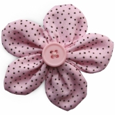 Pink Pin Dot Cotton Flower French Clip