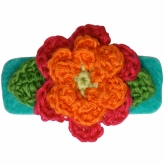 Orange-Fuschia Crochet Aqua Felt Hair Clip