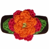 Orange-Fuschia Crochet Brown Felt Hair Clip