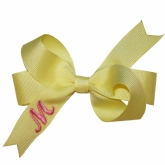 Yellow Monogrammed Initial Ribbon Bow