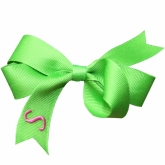 Lime Monogrammed Initial Ribbon Bow
