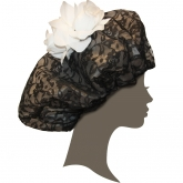Glamorous White Roses Black Lace Shower Cap